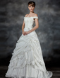 Ball-Gown Off-the-Shoulder Court Train Taffeta Wedding Dress With Ruffle Beading Appliques Lace Crystal Brooch (002017193)