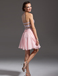 A-Line/Princess Sweetheart Short/Mini Chiffon Sequined Homecoming Dress With Beading (022013813)
