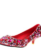 Women's Leatherette Kitten Heel Closed Toe Pumps With Rhinestone (047020194)