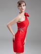 Sheath/Column One-Shoulder Short/Mini Chiffon Mother of the Bride Dress With Ruffle Beading Bow(s) (008016276)