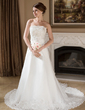 A-Line/Princess Strapless Chapel Train Satin Organza Wedding Dress With Ruffle Lace Beading Sequins (002001238)