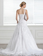 A-Line/Princess One-Shoulder Court Train Satin Organza Wedding Dress With Lace (002005321)