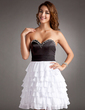 A-Line/Princess Sweetheart Short/Mini Chiffon Charmeuse Homecoming Dress With Beading Cascading Ruffles (022016371)