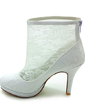 Women's Satin Cone Heel Boots Closed Toe Platform Pumps With Stitching Lace (047017791)