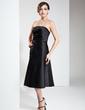 Çan/Prenses Askısız Diz Hizası Saten Kısa Siyah Elbise Ile Büzgü (043004245)