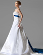 A-Line/Princess Strapless Chapel Train Satin Wedding Dress With Embroidered Sash Beading Sequins (002004585)