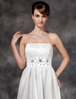 A-Line/Princess Strapless Floor-Length Taffeta Wedding Dress With Ruffle Beading (002001592)