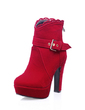Suede Chunky Heel Ankle Boots With Buckle shoes (088054698)