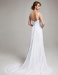 A-Line/Princess V-neck Court Train Chiffon Wedding Dress With Ruffle Beading (002012150)