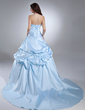 Ball-Gown Sweetheart Court Train Satin Quinceanera Dress With Ruffle Beading Flower(s) (021015628)