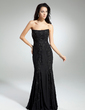 Trumpet/Mermaid Strapless Floor-Length Chiffon Prom Dress With Beading Appliques Lace (018014965)