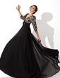A-Line/Princess V-neck Sweep Train Chiffon Lace Evening Dress With Ruffle Beading Flower(s) (017030749)