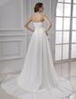 A-Line/Princess Sweetheart Chapel Train Chiffon Wedding Dress With Ruffle (002015479)
