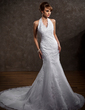 A-Line/Princess Halter Chapel Train Organza Wedding Dress With Lace Beading (002000297)