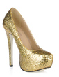 Sparkling Glitter Stiletto Heel Closed Toe Platform Pumps (085016462)