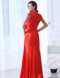 Trumpet/Mermaid High Neck Floor-Length Satin Lace Mother of the Bride Dress With Ruffle Flower(s) (008017334)