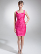 Sheath/Column Square Neckline Short/Mini Charmeuse Cocktail Dress With Ruffle Beading (016016255)