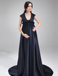 Empire Scoop Neck Sweep Train Charmeuse Maternity Bridesmaid Dress With Ruffle (045022548)