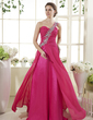 A-Line/Princess One-Shoulder Sweep Train Chiffon Prom Dress With Ruffle Beading (018015453)