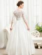 Balo Elbisesi V yaka Uzun Etekli Taffeta Dantel Gelinlik Ile Büzgü boncuklu kısım Payetler (002056594)