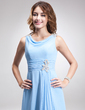A-Line/Princess Cowl Neck Ankle-Length Chiffon Mother of the Bride Dress With Ruffle Beading (008006496)