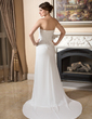 Sheath/Column Sweetheart Court Train Chiffon Wedding Dress With Ruffle Beading (002011373)