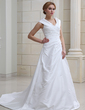 A-Line/Princess Off-the-Shoulder Chapel Train Taffeta Wedding Dress With Ruffle (002012105)