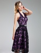 A-Line/Princess Halter Knee-Length Charmeuse Lace Bridesmaid Dress With Beading Sequins (007019640)