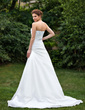 A-Line/Princess Strapless Court Train Taffeta Wedding Dress With Ruffle Bow(s) (002001306)
