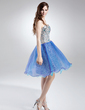 A-Line/Princess Sweetheart Knee-Length Organza Sequined Homecoming Dress With Beading (022015676)