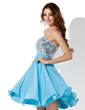 Empire Sweetheart Knee-Length Chiffon Sequined Homecoming Dress With Beading (022008943)