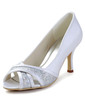 Women's Satin Cone Heel Peep Toe Sandals With Sparkling Glitter (047033116)