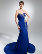 Trumpet/Mermaid Sweetheart Chapel Train Chiffon Evening Dress With Ruffle Beading Split Front (017015317)