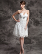 Empire Sweetheart Knee-Length Charmeuse Lace Wedding Dress With Ruffle Beading Sequins (002024079)