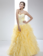 Ball-Gown Sweetheart Floor-Length Organza Quinceanera Dress With Appliques Lace Cascading Ruffles (021017447)
