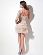 Empire One-Shoulder Short/Mini Organza Sequined Homecoming Dress With Ruffle (022011262)