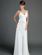 A-Line/Princess V-neck Floor-Length Chiffon Wedding Dress With Ruffle Sash Bow(s) (002001337)