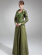 A-Line/Princess V-neck Floor-Length Taffeta Mother of the Bride Dress With Lace Beading (008021731)