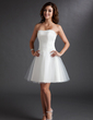 A-Line/Princess Sweetheart Knee-Length Tulle Wedding Dress With Ruffle Beading (002011497)
