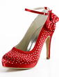 Women's Satin Cone Heel Closed Toe Platform Pumps With Bowknot Buckle Rhinestone (047016466)