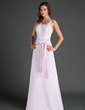 Sheath/Column Scoop Neck Floor-Length Satin Lace Bridesmaid Dress With Bow(s) (007015500)