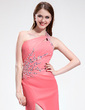 Sheath/Column One-Shoulder Floor-Length Chiffon Prom Dress With Ruffle Beading Split Front (018025301)