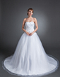 Ball-Gown Sweetheart Chapel Train Tulle Wedding Dress With Lace Beading (002015154)