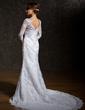 Trumpet/Mermaid V-neck Chapel Train Lace Wedding Dress (002011518)