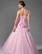 Trumpet/Mermaid Strapless Floor-Length Taffeta Organza Prom Dress With Ruffle Beading Sequins Bow(s) (018004953)