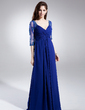 A-Line/Princess V-neck Floor-Length Chiffon Tulle Mother of the Bride Dress With Ruffle Lace Beading (008006046)