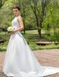 Balo Elbisesi Yuvarlak Yaka Şapel Kuyruk Satin Gelinlik Ile Boncuklama Pullarda (002012880)
