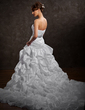 Ball-Gown Sweetheart Cathedral Train Taffeta Wedding Dress With Ruffle Beading Sequins (002012921)