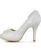 Women's Satin Kitten Heel Peep Toe Sandals With Stitching Lace (047033122)