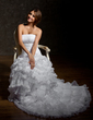 A-Line/Princess Strapless Court Train Organza Wedding Dress With Beading Cascading Ruffles (002001294)